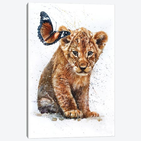 Lion With Butterfly Canvas Print #KNK34} by Konstantin Kalinin Canvas Wall Art