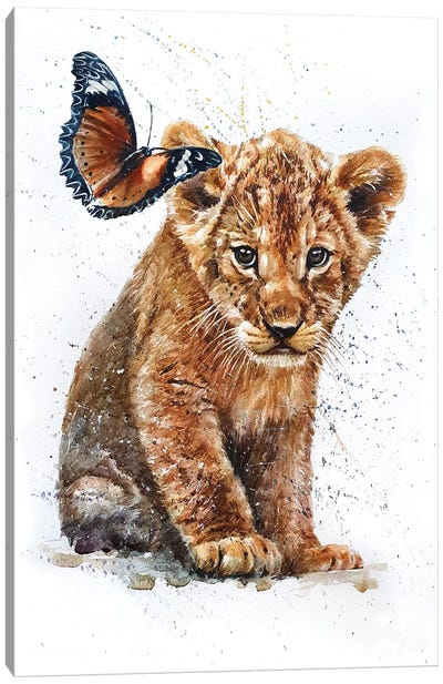 Lion With Butterfly Canvas Art Print