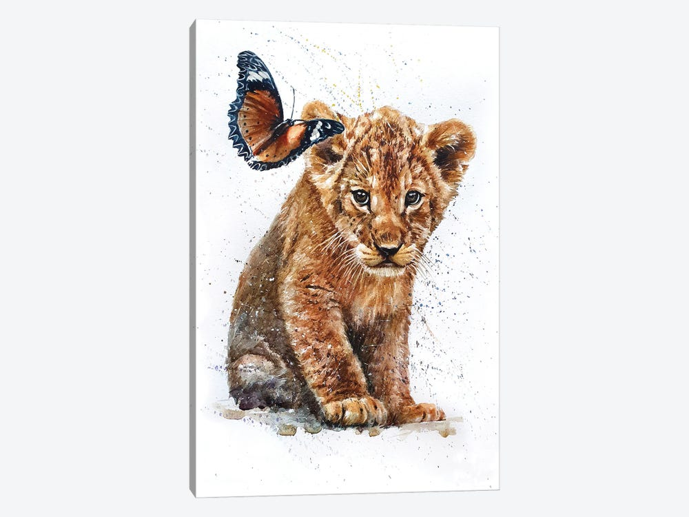 Lion With Butterfly by Konstantin Kalinin 1-piece Canvas Art Print