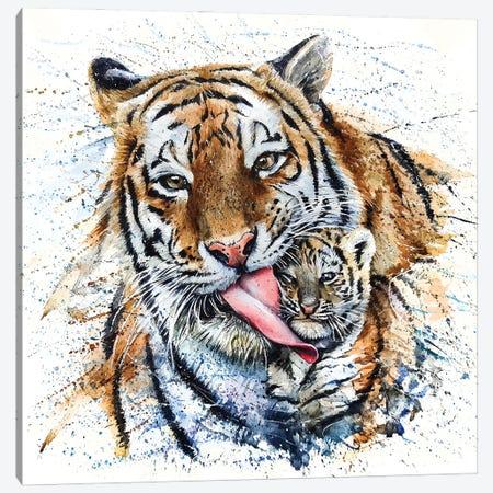 Tiger With Cub Canvas Print #KNK64} by Konstantin Kalinin Art Print
