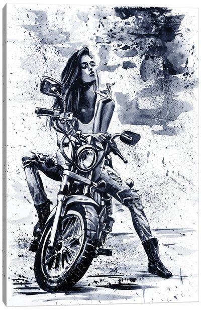 Biker Girl Canvas Art Print