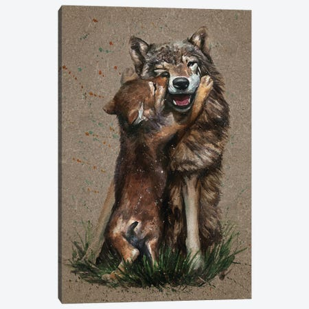 Wolf Father And Son Canvas Print #KNK73} by Konstantin Kalinin Art Print