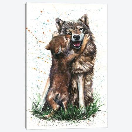 Wolf With His Kid Canvas Print #KNK79} by Konstantin Kalinin Canvas Art Print