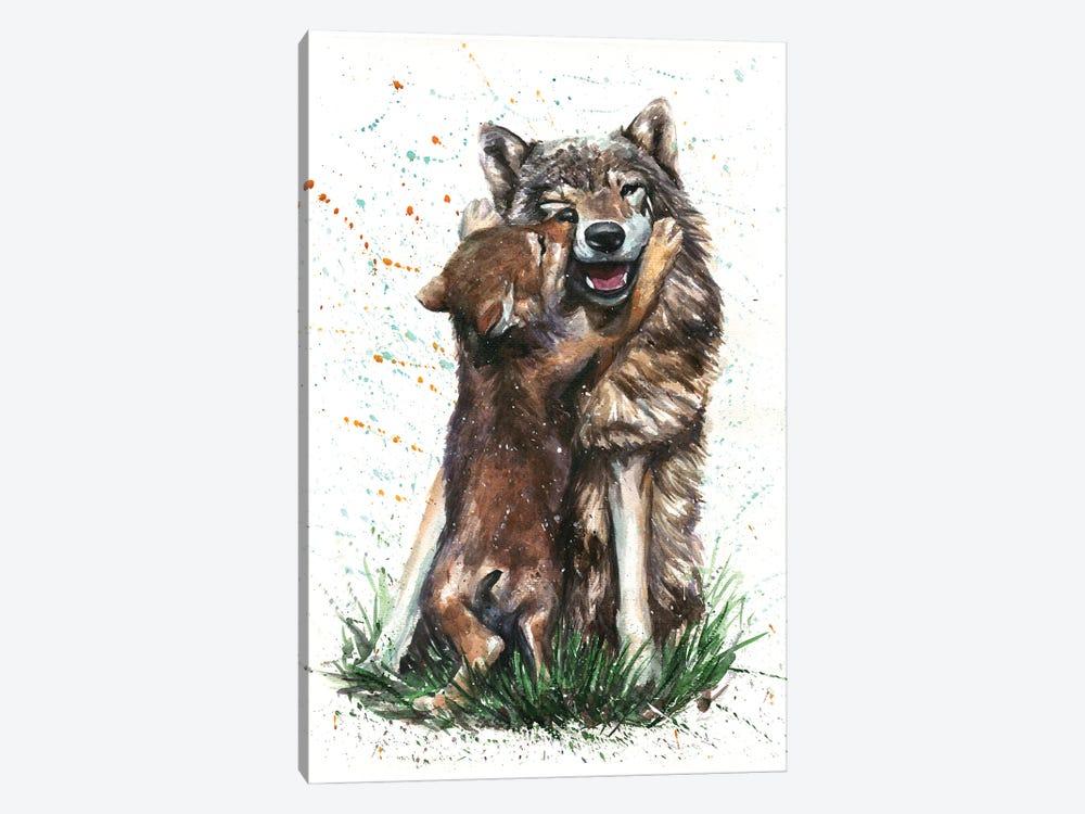 Wolf With His Kid by Konstantin Kalinin 1-piece Canvas Artwork