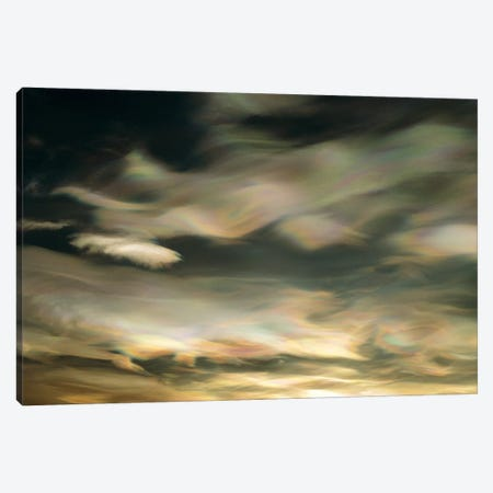 Nacreous Mother Of Pearl Clouds Seen Over Ross Island In Late Winter, Early Spring, Antarctica Canvas Print #KNS1} by Keith-Nels Swenson Canvas Wall Art