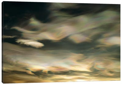 Nacreous Mother Of Pearl Clouds Seen Over Ross Island In Late Winter, Early Spring, Antarctica Canvas Art Print