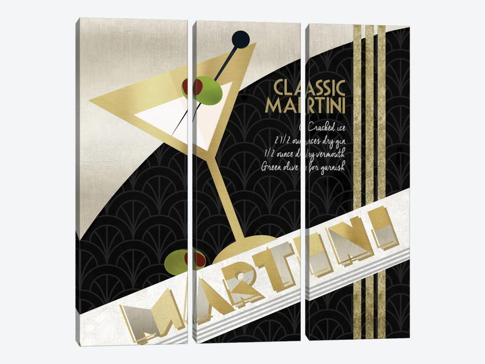Martini Cocktail by Conrad Knutsen 3-piece Canvas Wall Art