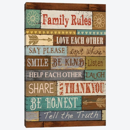 Family Rules Canvas Print #KNU33} by Conrad Knutsen Art Print