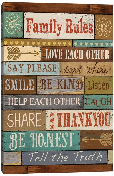 Family Rules Canvas Art Print