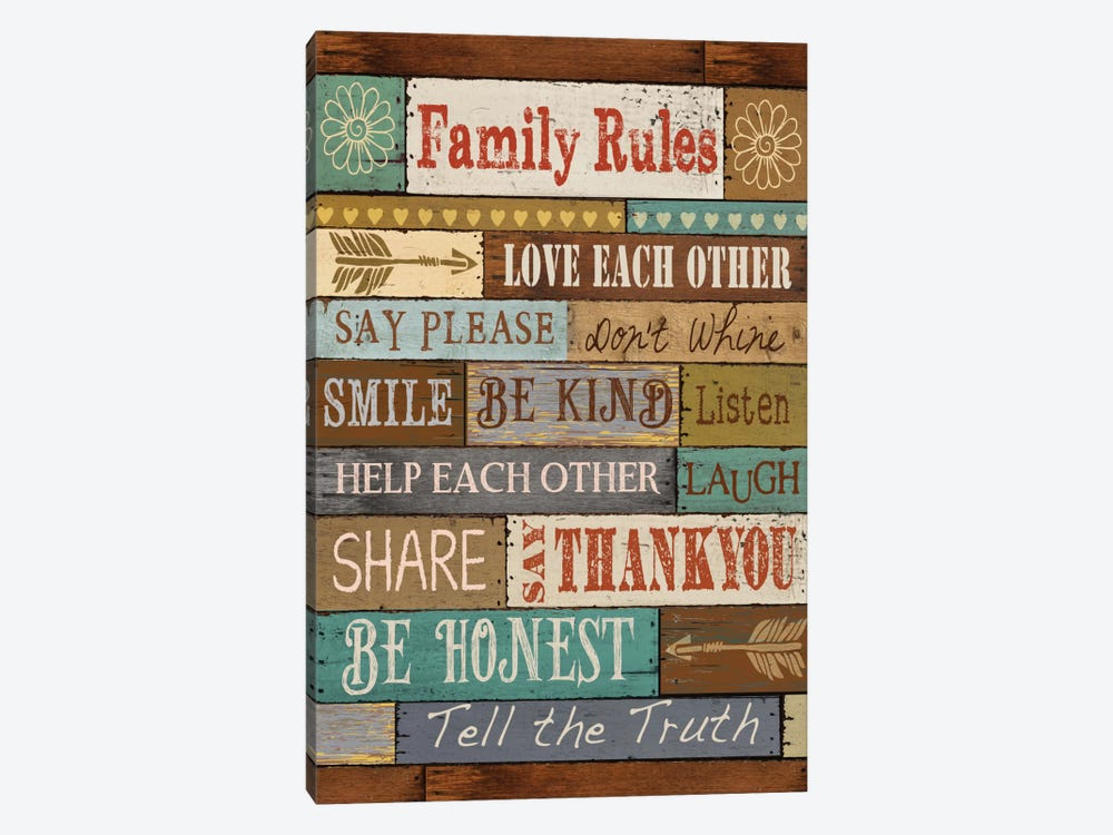 Family Rules 1-piece Canvas Artwork