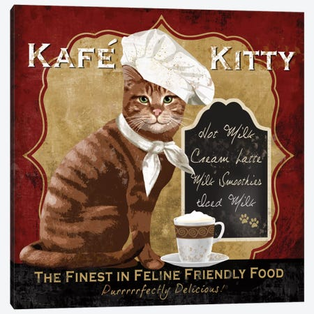 Kafe Kitty Canvas Print #KNU3} by Conrad Knutsen Canvas Wall Art