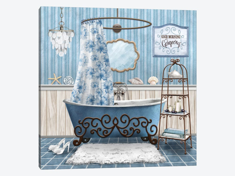 Blue Bath Retreat I by Conrad Knutsen 1-piece Canvas Wall Art