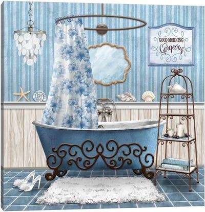 Blue Bath Retreat I Canvas Art Print