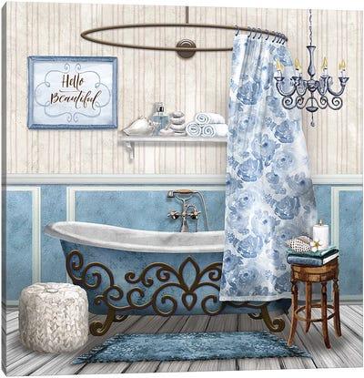 Blue Bath Retreat II Canvas Art Print