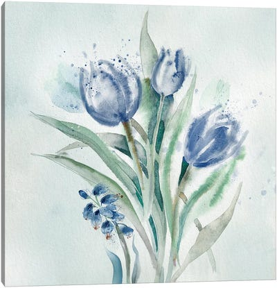 Blue Flower Wash II Canvas Art Print