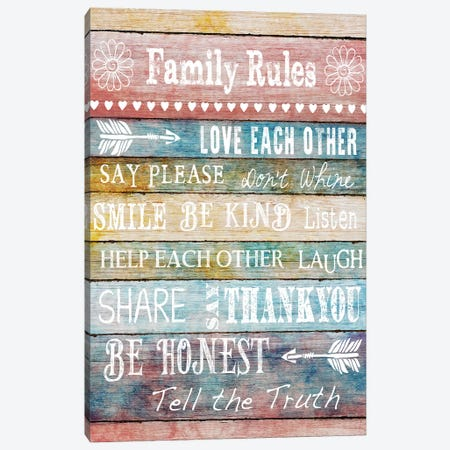 Family Rules Canvas Print #KNU65} by Conrad Knutsen Canvas Print