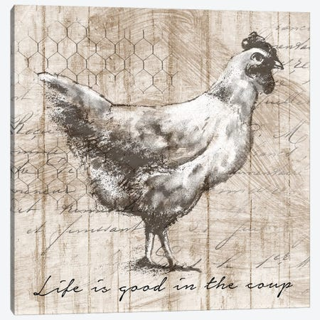 Farm Hen Canvas Print #KNU69} by Conrad Knutsen Canvas Wall Art