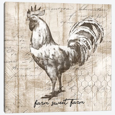 Farm Rooster Canvas Print #KNU70} by Conrad Knutsen Canvas Art Print