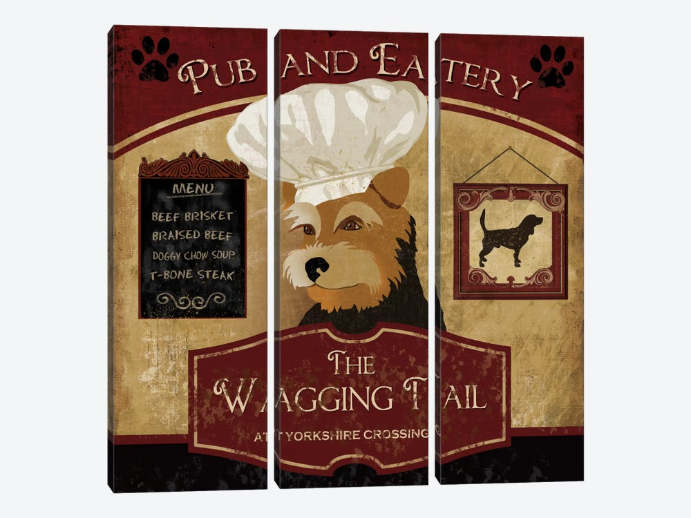 Wagging Tail 3-piece Canvas Art Print