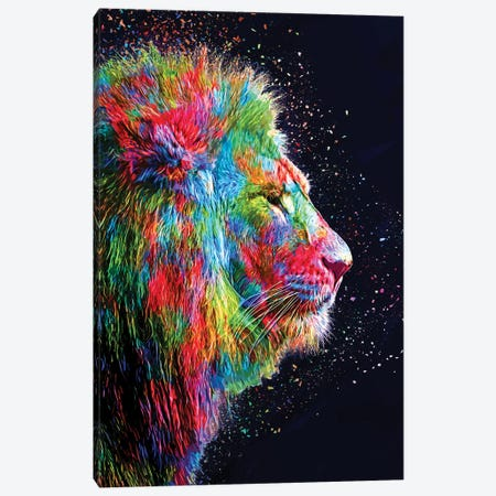Colored Lion Canvas Print #KNV55} by Milos Karanovic Canvas Art Print