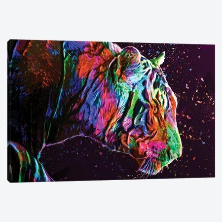 Colored Tiger Canvas Print #KNV57} by Milos Karanovic Art Print