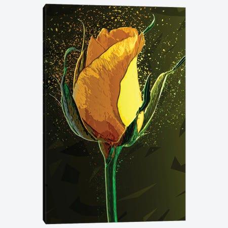 Colored Yellow Rose Canvas Print #KNV58} by Milos Karanovic Canvas Artwork