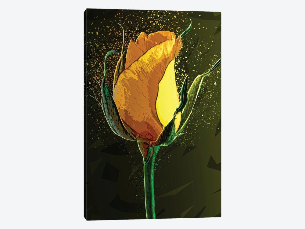 Colored Yellow Rose by Milos Karanovic 1-piece Canvas Print