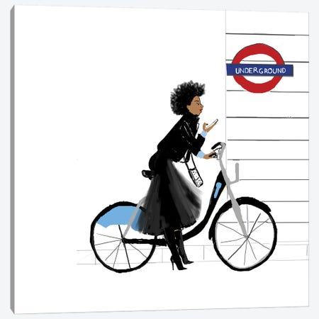 Bike Girl Canvas Print #KOB9} by Nicholle Kobi Art Print