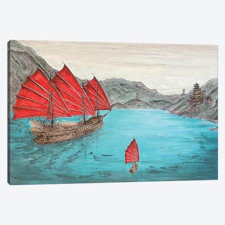 Three Reds - Junk Ship Canvas Print #KOO23} by Koorosh Nejad Canvas Print