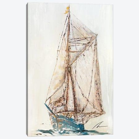 Blue Schooner - New Canvas Print #KOO24} by Koorosh Nejad Canvas Artwork