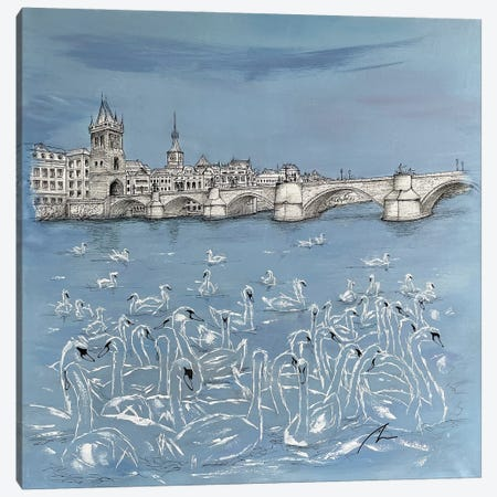 Flock - Charles Bridge (Prague) Canvas Print #KOO27} by Koorosh Nejad Canvas Art