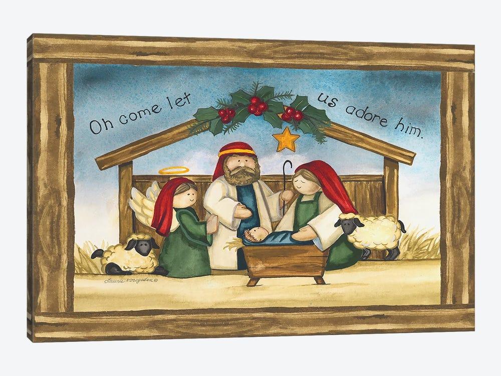 Come Let Us Adore Him by Laurie Korsgaden 1-piece Canvas Print
