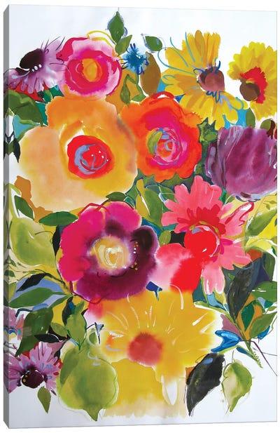 Purple Zinnias Canvas Art Print