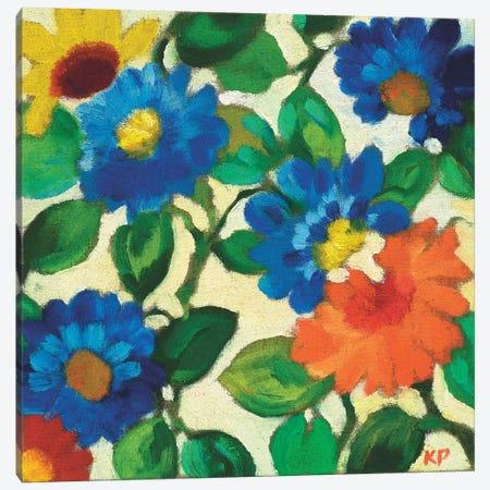 Blue Zinnias Canvas Print #KPA125} by Kim Parker Canvas Print