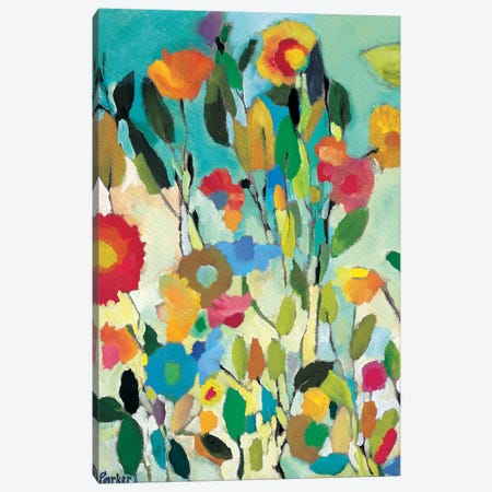 Turquoise Garden Canvas Print #KPA134} by Kim Parker Canvas Artwork