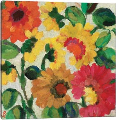 Yellow Zinnias Canvas Art Print