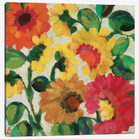 Yellow Zinnias Canvas Print #KPA144} by Kim Parker Art Print