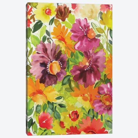 Purple Zinnia Garden I Canvas Print #KPA148} by Kim Parker Canvas Art