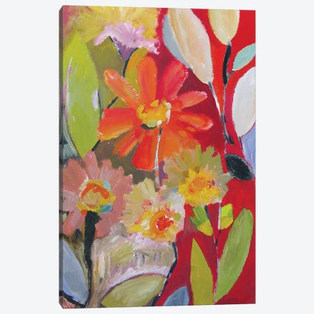 Red Zinnia Canvas Print #KPA150} by Kim Parker Canvas Print