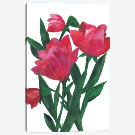 Pink Tulips Canvas Print #KPA226} by Kim Parker Canvas Artwork