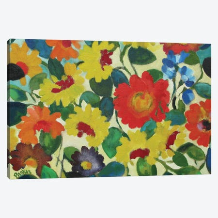 Zinnia Meadow Canvas Print #KPA29} by Kim Parker Canvas Art