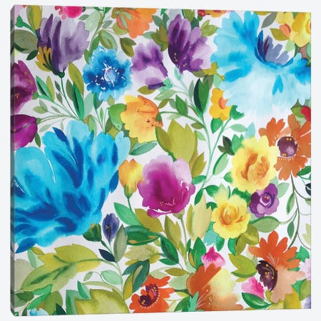 Turquoise Zinnias Canvas Print #KPA44} by Kim Parker Art Print