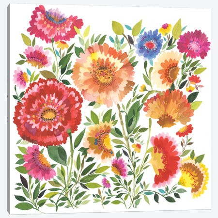 Zinnia Garden Textile Canvas Print #KPA50} by Kim Parker Canvas Art Print
