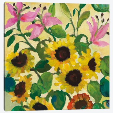 Sunflowers & Lilies Canvas Print #KPA58} by Kim Parker Art Print