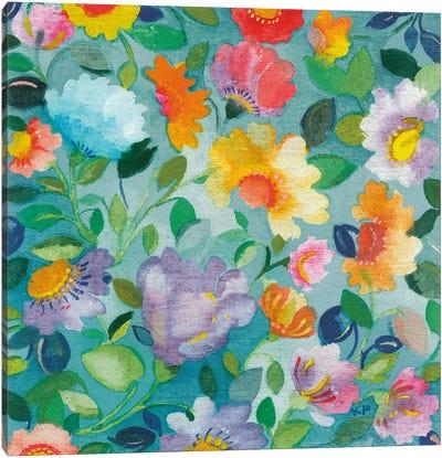 Turquoise Flowers Canvas Art Print