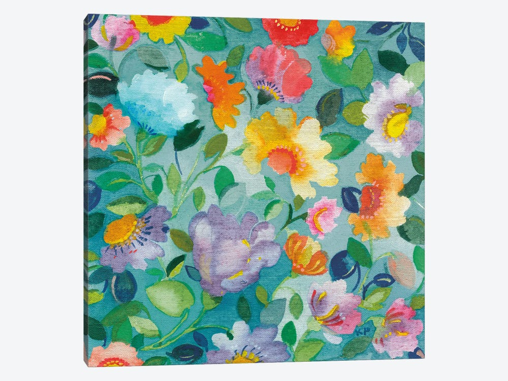 Turquoise Flowers by Kim Parker 1-piece Art Print