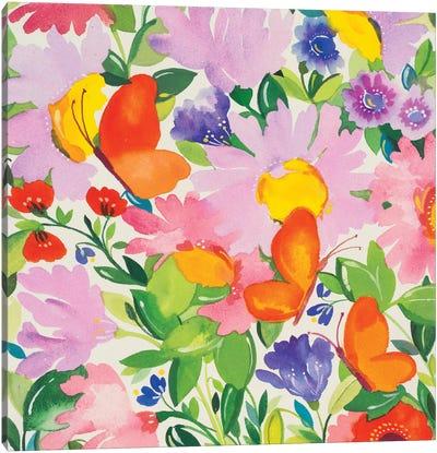 Butterflies & Echinacea Canvas Art Print