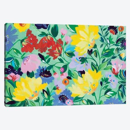 Mint Garden Textile Canvas Print #KPA68} by Kim Parker Canvas Art
