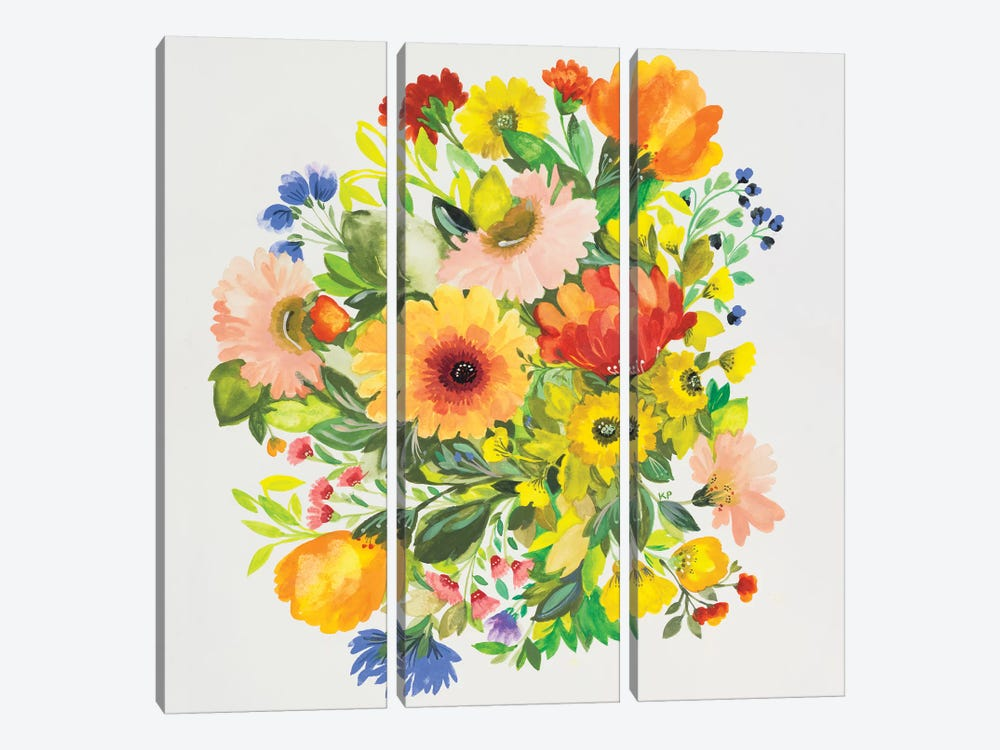 September Garden Bouquet by Kim Parker 3-piece Canvas Wall Art