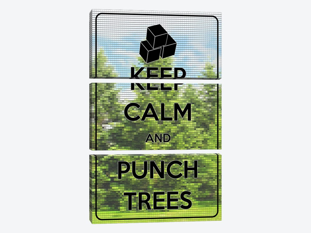 Keep Calm & Punch Trees by Unknown Artist 3-piece Canvas Print